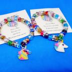 Multi Color Crystal Beaded Bracelet w/ Unicorn Charm & Story Card .54 each