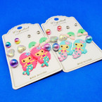 6 Pair Kids Mermaid Theme Fashion Earring Set .52 per set