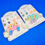6 Pair Kid Mermaid Theme Fashion Earring Set .52 per set