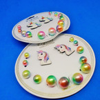 7 Pair Kids Unicorn Theme Fashion Earring Set .50 per set