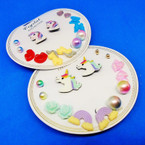 7 Pair Kid Unicorn Theme Fashion Earring Set .50 per set