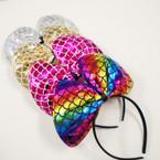 "8"" Metallic Bow Fashion Mermaid Theme Headbands .56 ea"