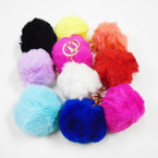 "3"" Faux Fur Pom Pom Ball Keychains 10 Colors per pack  .54 each"