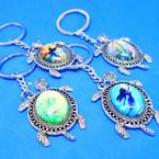 Cast Silver Turtle Keychain w/ Mermaid Theme .54 ea