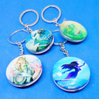 DBL Sided Round Glass Keychains  w/ Mermaid Theme .54 ea