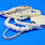 BEST BUY 3 Pack Glass Pearl & 1 Rhinestone Bracelet .54 per set