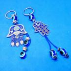 2 Style Cast Silver Hamsa Keychains w/ Blue Eye Beads .54 ea