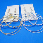 6 Pair  Gold/Silver Fashion Hoop & Cry. Stone Earrings .52 per set