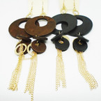 "6"" Wood & Gold Chain Shoulder Duster Fashion Earrings .54 ea"