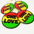 "2.25"" Round Rasta Color ONE LOVE Wood Fashion Earrings .52 ea"