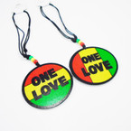 """DBL Leather Cord Necklace w/ Rasta Beads & 3"""" ONE LOVE Wood Pend. .54 ea"""
