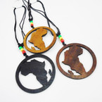 "DBL Leather Cord Necklace w/ Rasta Beads & 3"" Africa Map  Wood Pend. .54 ea"