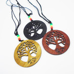 "DBL Leather Cord Necklace w/ Rasta Beads & 3"" Tree of Life  Wood Pend. .54 ea"