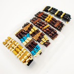 Handmade 3 Strand Wood Beaded Stretch Bracelets Mixed Styles .52 ea