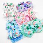 """2.5"""" Crochet Headwrap w/ 4"""" Flamingo/Palm Tree Theme Bow .52 each"""