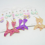 6 Pair Kid Sparkle Mermaid Theme Fashion Earring Set .52 per set