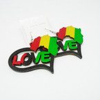 "3"" Love Heart Rasta Color Wood Earrings w/  Africa Map .52 ea"