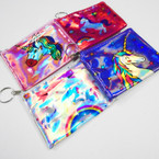 "4.5"" Metallic Print Unicorn Theme Zipper Purse w/ Keychain .52 ea"