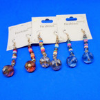 "2"" Crystal Bead Earring w/ Multi Color Disc .54 ea"