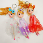 "6"" Dressed  Doll Keychain w/ Emoji Hair Bow .60 each"