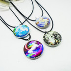 """16-18"""" Leather Cord Necklace w/ Mixed Style DBL Sided Unicorn Pendants .54 ea"""