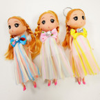 "6.5"" Dressed  Doll Keychain w/ Striped Dress w/ Bow .60 each"