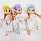 "6.5"" Dressed  Doll Keychain w/ Country Flower Dress & Bow .60 each"