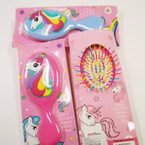 "5.5"" Unicorn Theme Multi Color Hair Brush 12 per pk .65 each"