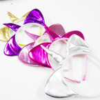 Metallic Fabric Cat Ear Headbands w/ Unicorn Horn 12 per pk .52 each