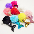 "4.5"" Faux Fur Pom Pom Ball Keychains w/ Sequin Mermaid Tail .56 each"