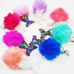 "4.5"" Faux Fur Pom Pom Ball Keychains w/ Sparkle Sequin Mermaid Tail .56 each"