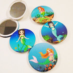 "3"" Mermaid Theme Round DBL Compact Mirror in Display  .56 each"