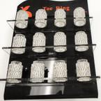 Silver Stretch Rhinestone Toe Ring All Clear Stones 120 pc display .40 ea