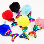 "4.5""  Pom Pom Ball Keychains w/ Multi Color Sequin Mermaid Tail .56 each"