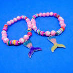Pink & Fimo Multi Color Bracelet w/ Mermaid Tail Charm .52