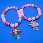 Pink & Fimo Multi Color Bracelet w/ Mermaid Charm .52