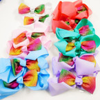 "5"" 2 Layer Gator Clip Bow w/ Rainbow Sparkle Bow  .54 ea"