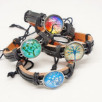 Teen Leather Bracelet w/ Mixed Design Tree of Life  .54 ea