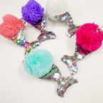 "Pastel Color 4.5""  Pom Pom Ball Keychains w/ Multi Color Sequin Mermaid Tail .56 each"