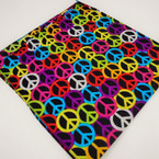 "21"" Square Colorful Peace Sign Theme Bandana's .52 each"