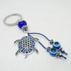 Cast Silver Turtle Blue Stone Keychains w/ Blue Eye Beads .54 each
