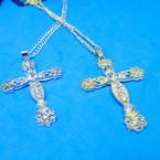 """24"""" Gold & Silver Chain Necklace w/ 2.5"""" Cry. Stone Cross .54 ea"""