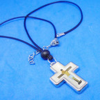 Leather Cord Necklace w/ MOP Look Cross w/ Jesus on Cross .54 ea