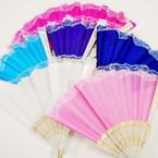 """9"""" Asst Color White Handle Lace Hand Fans .54 each"""