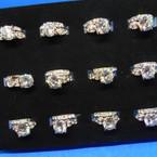 2 Pc Silver Crystal Stone Wedding Ring Set .54 ea set