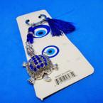 Cast Silver Turtle Keychains w/ Blue Crystal Stones & Bead w/ Tassel .54 ea