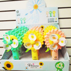 "NEW 7"" Hand Fan w/ Water Mister Sunflower Theme 12 per display $ 1.75 ea"