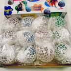 "2.5"" White Mesh Squishy Balls Clear w/ Glitter 12 per display bx .56 ea"