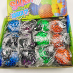 "2.5"" Black  Mesh Squishy Balls Mixed Colors  12 per display bx .56 ea"