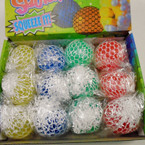"2.5"" White Mesh Squishy Balls Mixed Colors  12 per display bx .56 ea"